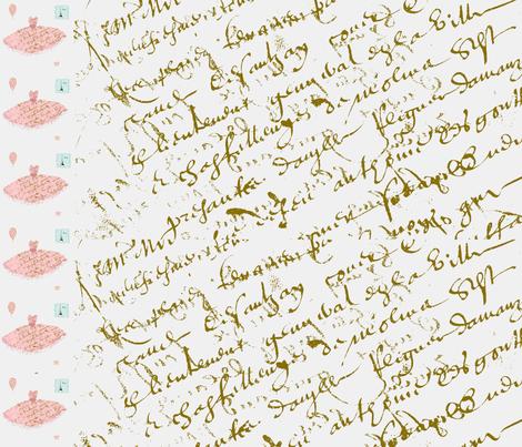 A Script Border Large fabric by karenharveycox on Spoonflower - custom fabric