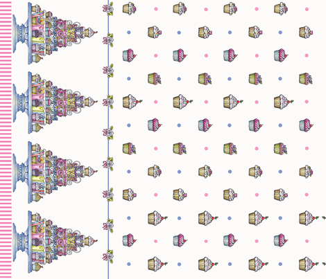 cupcakeborder fabric by leslipepper on Spoonflower - custom fabric