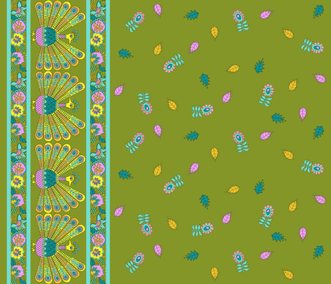 PEACOCK BORDER  fabric by uzumakijo on Spoonflower - custom fabric
