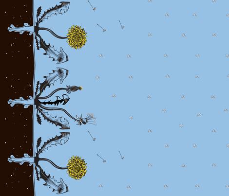 Dandelion Border fabric by lellobird on Spoonflower - custom fabric