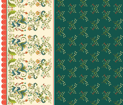 Floral Christmas in green fabric by leslipepper on Spoonflower - custom fabric