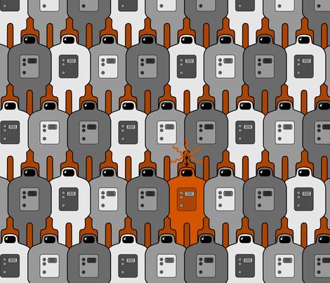 Invaders Orange fabric by thirdhalfstudios on Spoonflower - custom fabric