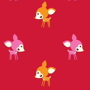Little Forest Deer in Red