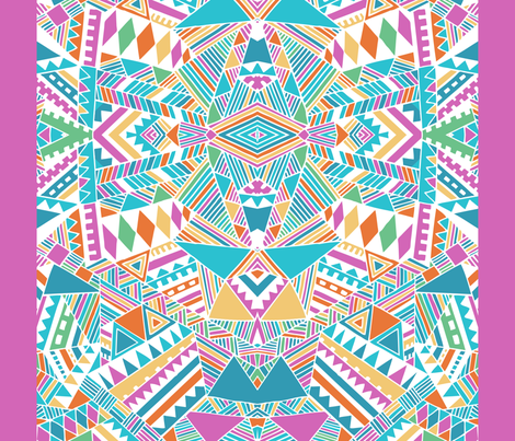 Tribal beats mirror with border fabric by chulabird on Spoonflower - custom fabric
