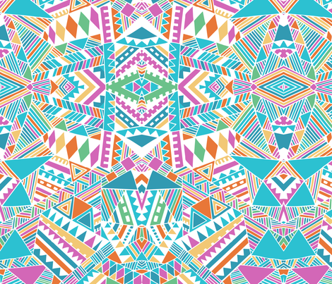 Tribal beats mirror  fabric by chulabird on Spoonflower - custom fabric