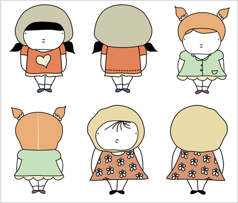 3 little dolls fabric by yaelfran on Spoonflower - custom fabric