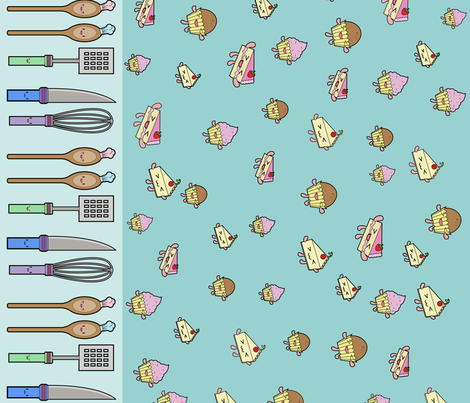Kawaii Kitchen fabric by bella_modiste on Spoonflower - custom fabric