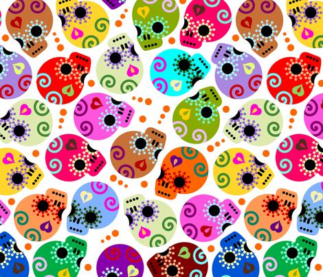 DOTD skulls white medium size fabric by thirdhalfstudios on Spoonflower - custom fabric