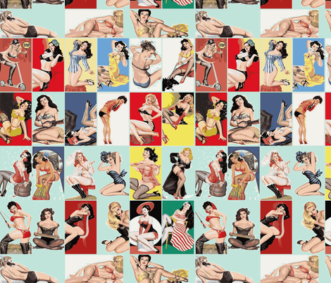 vintage pin ups in light blue fabric by olivemlou on Spoonflower - custom fabric