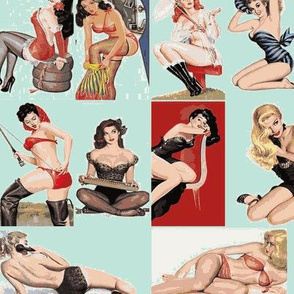 vintage pin ups in light blue
