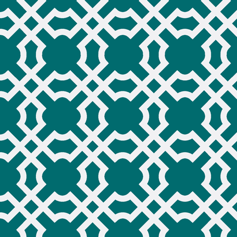 Geo Tile - Turquoise & White fabric by winterdesign on Spoonflower - custom fabric