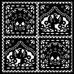 Papel Picado black on white ground