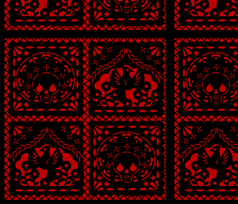 Papel Picado black on red ground fabric by thirdhalfstudios on Spoonflower - custom fabric