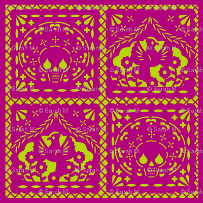 Papel Picado pink on lime ground
