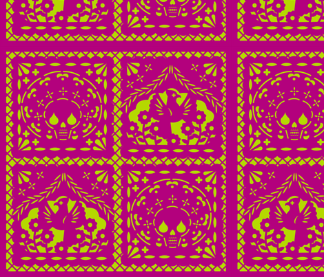 Papel Picado pink on lime ground fabric by thirdhalfstudios on Spoonflower - custom fabric