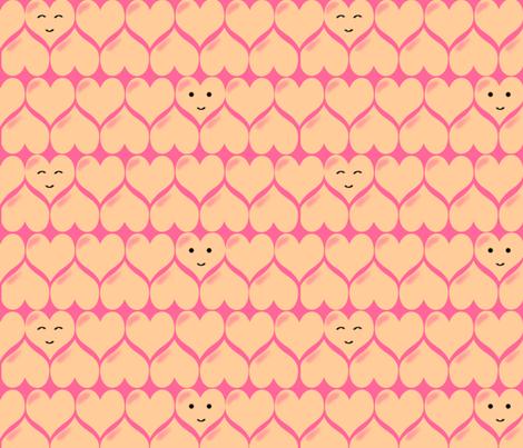kawaii_hearts_in_pink-ed fabric by hannak on Spoonflower - custom fabric