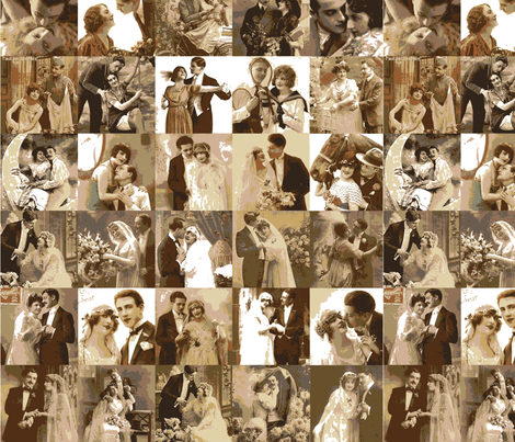 couples and marriage in sepia tones fabric by olivemlou on Spoonflower - custom fabric
