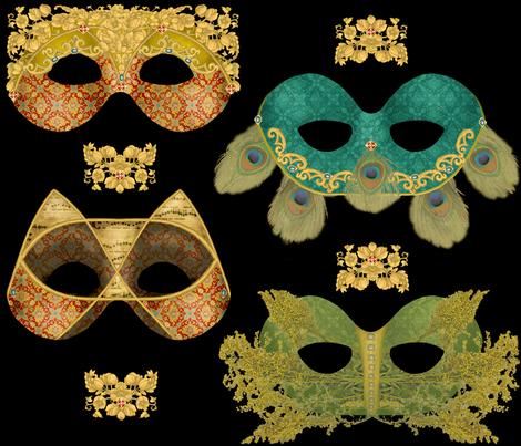 Venetian Masques fabric by artandwords on Spoonflower - custom fabric