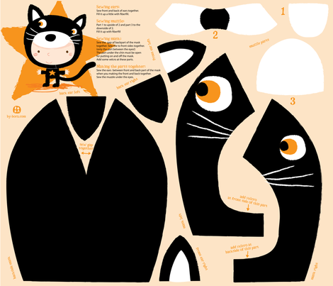 Funny black cat mask fabric by bora on Spoonflower - custom fabric