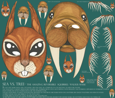 The Amazing Reversible Squirrel and Walrus Two Sided Halloween Mask fabric by ceanirminger on Spoonflower - custom fabric