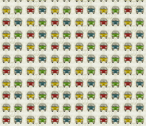 """""""groovy w"""" bus in colors fabric by kclud39 on Spoonflower - custom fabric"""