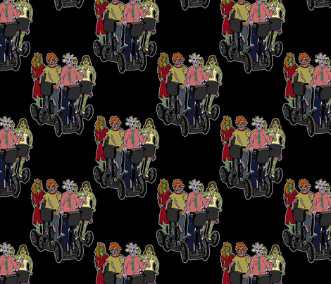 Zombies on Segways 2 fabric by leeleeandthebee on Spoonflower - custom fabric