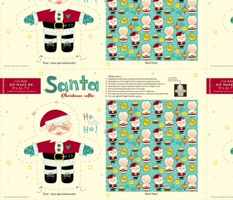Santa Loves Christmas Doll Pattern fabric by gomakeme on Spoonflower - custom fabric