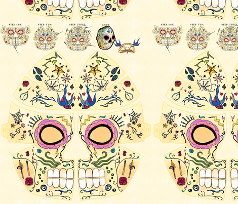 Sugar Skull Mask fabric by leighr on Spoonflower - custom fabric
