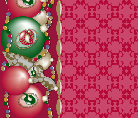 Christmas Ornament Birds Border fabric by deesignor on Spoonflower - custom fabric