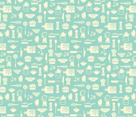 kitchen culture aqua fabric by amel24 on Spoonflower - custom fabric