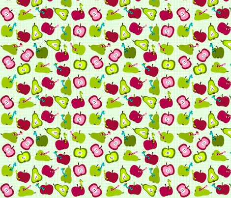 SteffFabrics Apple'n'Worms Green fabric by steffstyle on Spoonflower - custom fabric