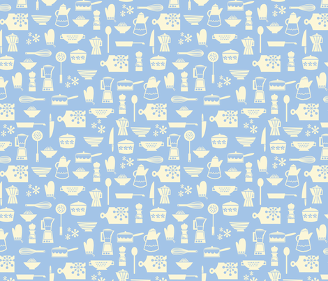 kitchen culture chine blue fabric by amel24 on Spoonflower - custom fabric