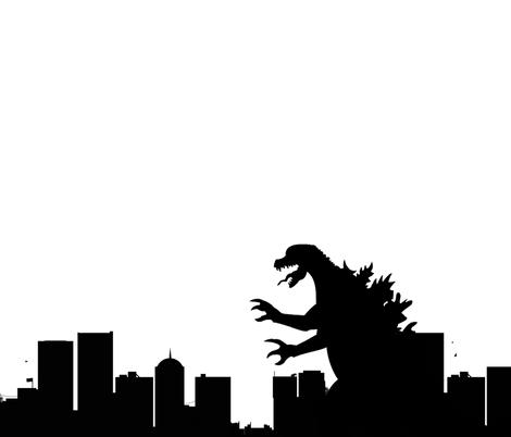 Godzilla fabric by anneleukocyte on Spoonflower - custom fabric
