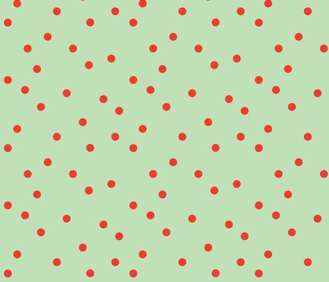 POLKA-DOTS mint&tomato fabric by heatherrothstyle on Spoonflower - custom fabric