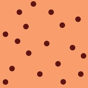 POLKA-DOTS peach&brown