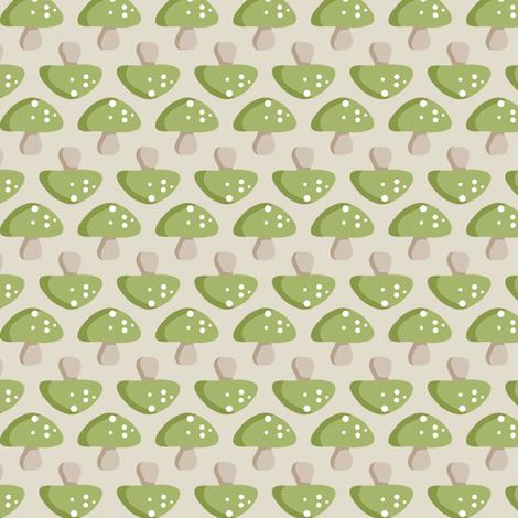 Woodland Mushroom - Green fabric by ejrippy on Spoonflower - custom fabric