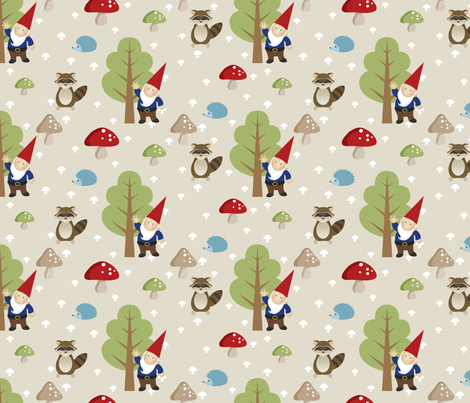 Woodland Friends - Red fabric by inktreepress on Spoonflower - custom fabric