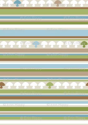 Woodland Mushroom Stripe - Blue