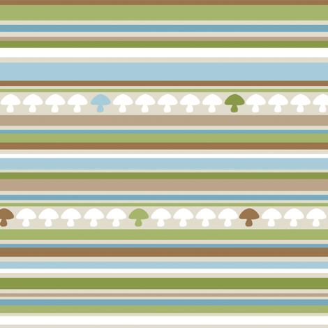 Woodland Mushroom Stripe - Blue fabric by inktreepress on Spoonflower - custom fabric