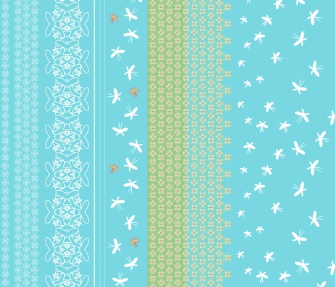 floral butterfly border 2 j fabric by fiona_mcdonald_juicyapple on Spoonflower - custom fabric