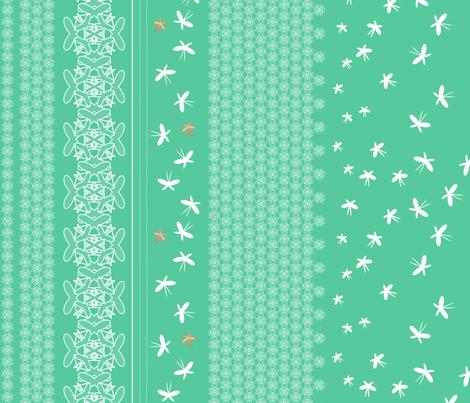 floral butterfly border 3 j fabric by fiona_mcdonald_juicyapple on Spoonflower - custom fabric