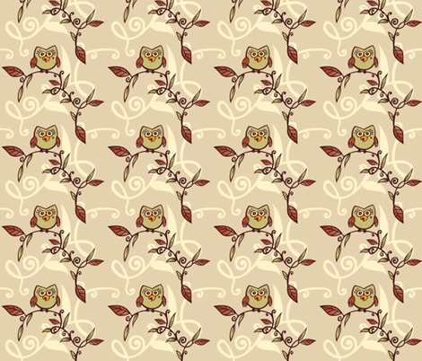 Owl in a Tree fabric by tessiegirldesigns on Spoonflower - custom fabric