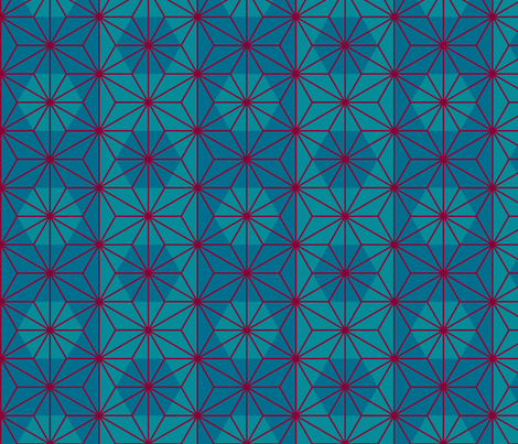 Asanoha (Teal) fabric by nekineko on Spoonflower - custom fabric