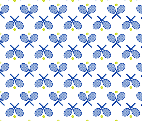 Tennis Racquets White fabric by freshlypieced on Spoonflower - custom fabric