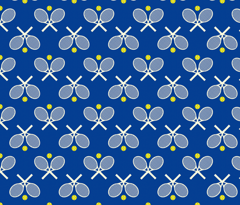 Tennis Racquets Blue fabric by freshlypieced on Spoonflower - custom fabric