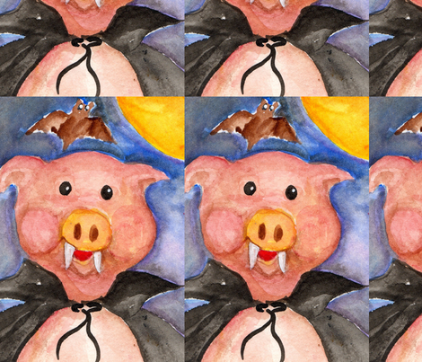 Vampire Pig Watercolor fabric by sharonfosterart on Spoonflower - custom fabric