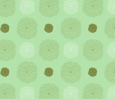 jungledelights puffs vintage green 3jpg fabric by fiona_mcdonald_juicyapple on Spoonflower - custom fabric