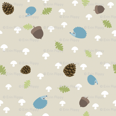 Woodland Friends - Hedgehogs on cream