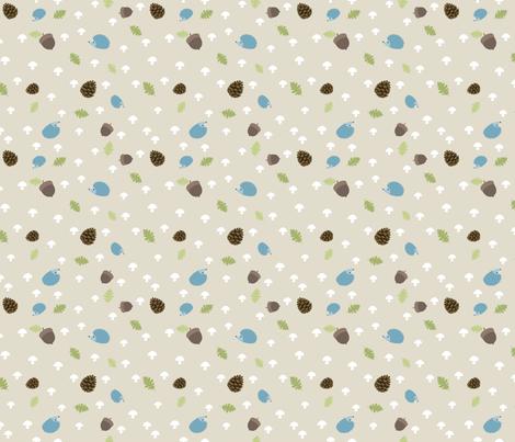 Woodland Friends - Hedgehogs on cream fabric by ejrippy on Spoonflower - custom fabric