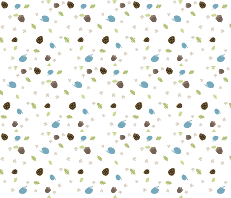 Woodland Friends - Hedgehogs on white fabric by inktreepress on Spoonflower - custom fabric